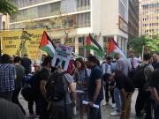 """بالصور .. إصلاحي فتح باليونان ينظم مسيرة تضامنية رافضة لحصار غزة و""""اليورفيجن"""""""