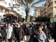 شاهد.. موظفو تفريغات 2005 يعتصمون أمام مقر إقامة وفد مركزية فتح في غزة